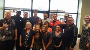 Our staff with the Steelers in training!
