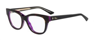 Black and purple statement frames by Dior